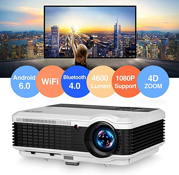 4600 Lumen Android Bluetooth LCD Video Projector WXGA Multimedia HDMI USB Audio AV VGA Support Full HD 1080P Wireless WiFi Miracast Home Theater Cinema Projectors Outdor Movies Games Art Party