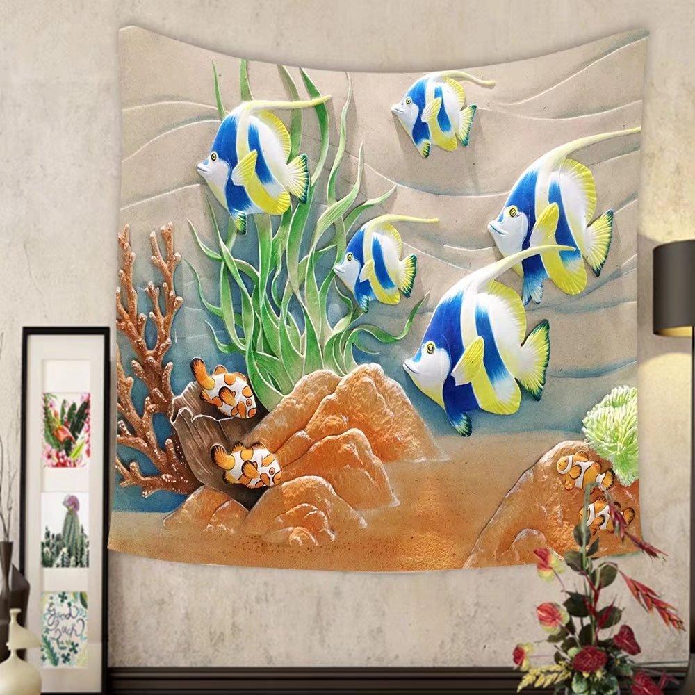 Lee S. Jones Custom tapestry low relief cement thai style handcraft of fish by Lee S. Jones