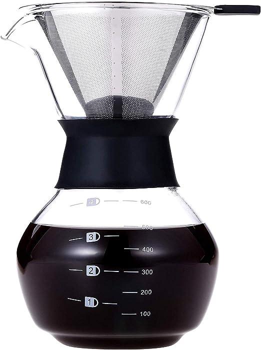Luckyies Manuell Pour Over - Cafetera con filtro de acero ...
