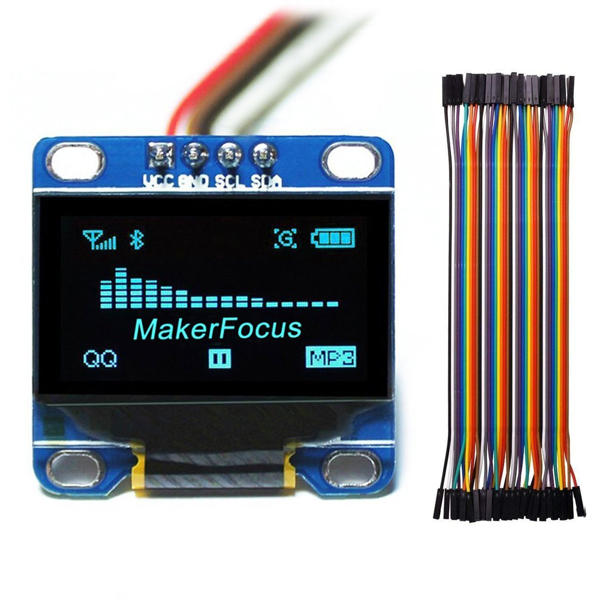 MakerFocus I2c OLED Display, 0 96 Inch IIC Serial LCD LED Module 128 64 for  Arduino with 40pcs Du-pont Wire 20CM 40-Pin Female to Female