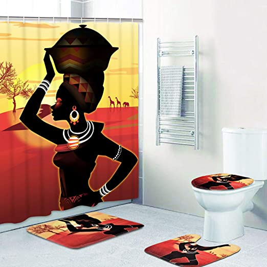 Cortinas Africanas Con Alfombras Tapa De Inodoro Cosas Para El Baño 4 PCS Set US