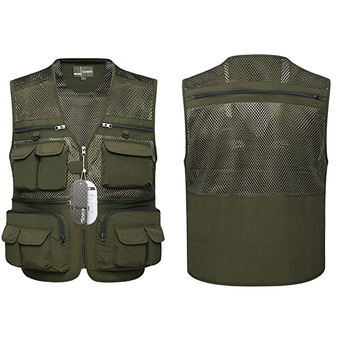 50389cce9b89a Amazon.com : Zicac Men's Outdoor Mesh Quick-Dry Fly Fishing Vest  Multi-Pockets Climbing Photography Travel Hunting Waistcoat Jacket : Sports  & Outdoors