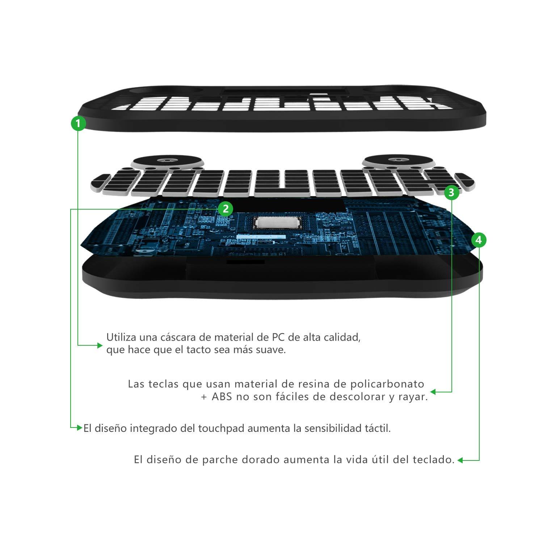 DQiDianZ Mini Teclado inalámbrico retroiluminado con Pantalla táctil 2.4GHz en versión española, Dispone de 7 Cambios de Color para TV Inteligente, ...