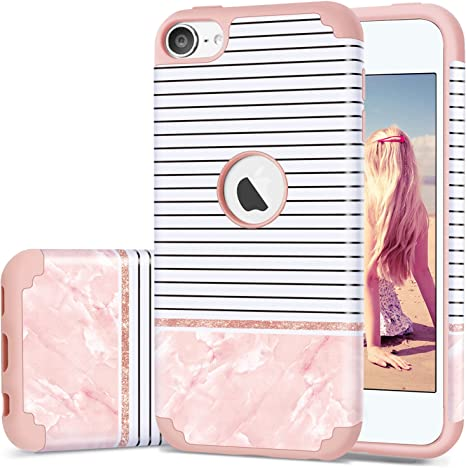 iPod Touch 5 Case iPod Touch 6 Case Artistic-Marble Pattern ULAK 3 Layer Anti Slip Anti-Scratch Shockproof Protective Cover with Hybrid Soft Silicone Hard PC Case