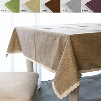 Superbe ColorBird Solid Cotton Linen Tablecloth Waterproof Macrame Lace Table Cover  For Kitchen Dinning Tabletop Decoration (