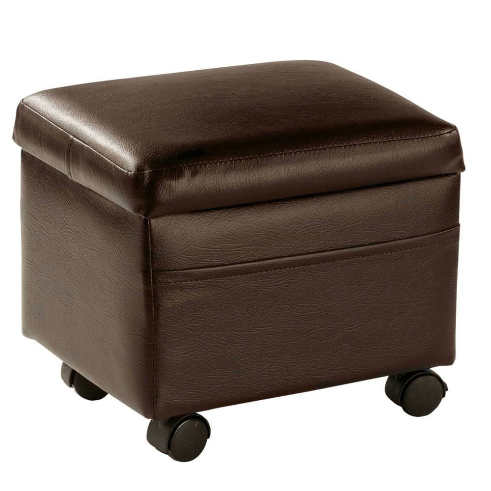 MSK HOME Flip Top Tray Storage Ottoman on Wheels - Portable Foot Rest and Small Table - 13'' L x 10'' W x 12'' H (Brown)