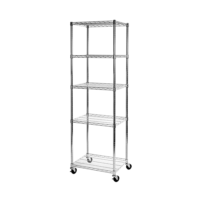 "Seville Classics UltraDurable Commercial-Grade 5-Tier NSF-Certified Steel Wire Shelving with Wheels 24"" W x 18"" D x 72"" H"