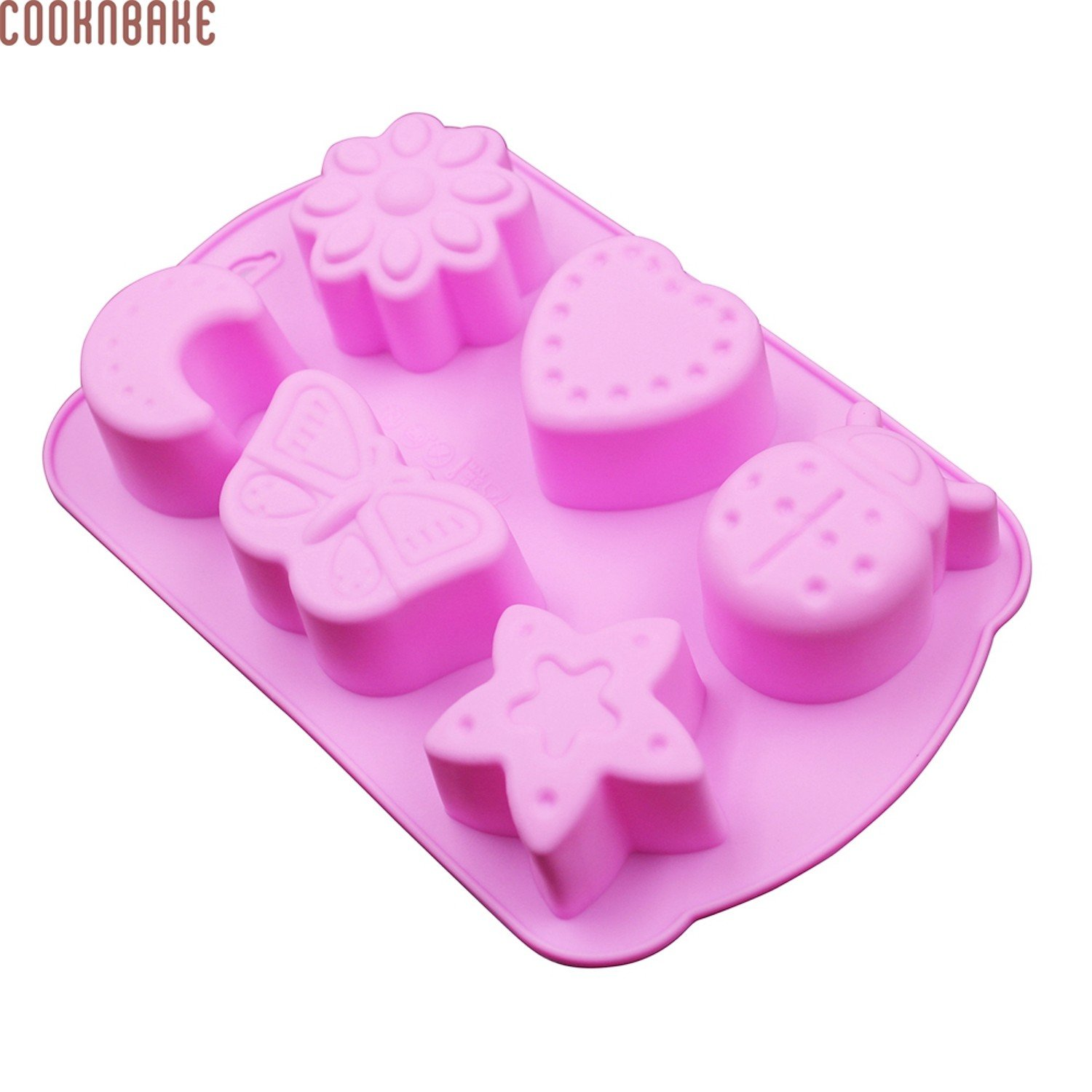 Convenient Durable 6 Cavity Silicone Mold for Cake, Chocolate, Ice cube, Jelly with Moon Insect Design Tool