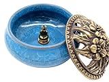 (CHOUCHOU) 陶器 香炉 お香 立て付 直径9.5cm アロマ 陶磁器 (ライトブルー)