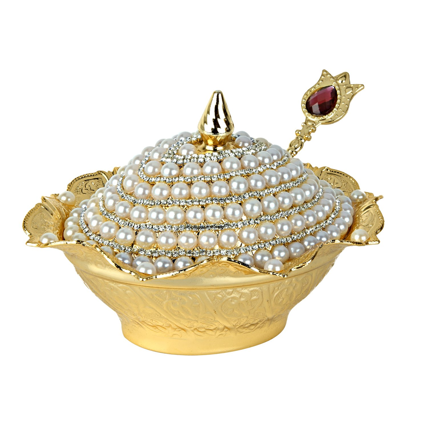 Candy Bowl Swarovski Crystal and Pearl Coated Handmade Brass Sugar Chocolate Serving Dish For Gift