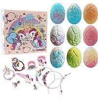 Unicorn Bath Bomb Gift Set with Jewelry Inside, 9 Pack Organic Bath Bomb Gift Set for Kids, Magic Unicorn Bath Bomb with…