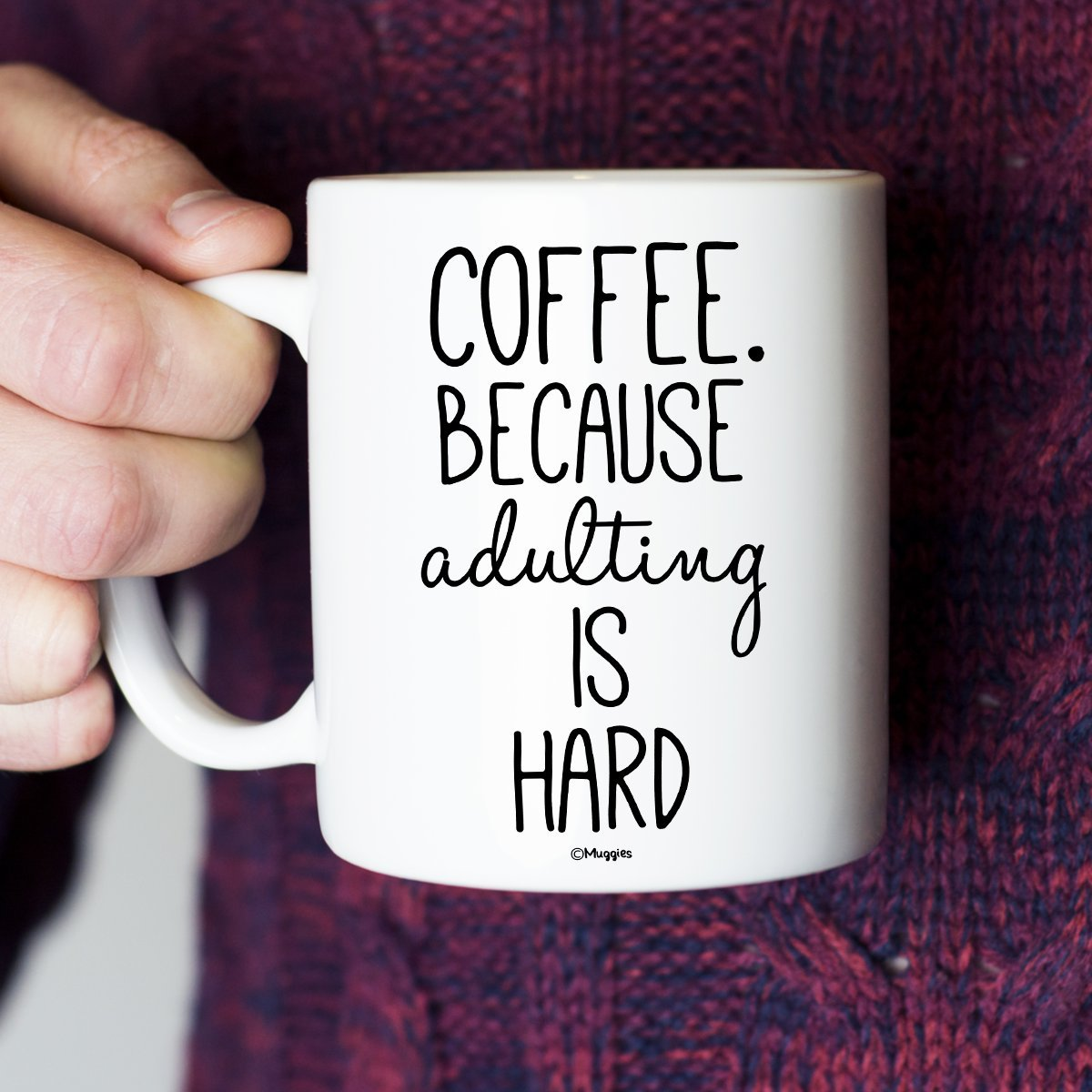 'coffee because adulting is hard' mug