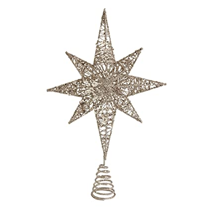Antique Glittered Gold Star Christmas Tree Topper Tree Ornament Holiday Decoration