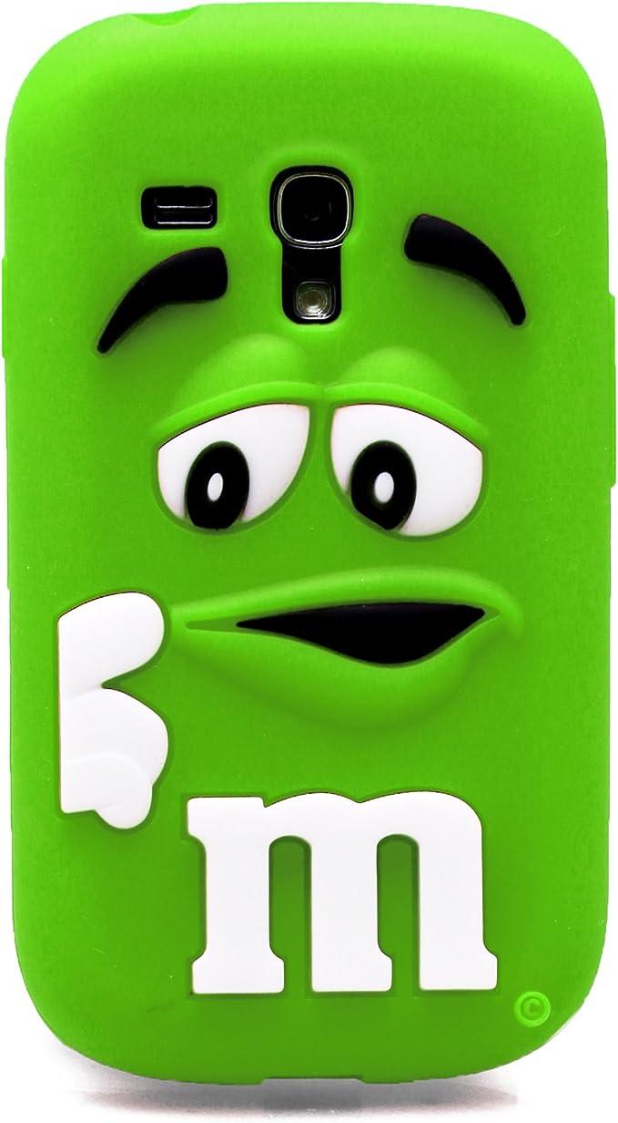 Coque de protection 3D en silicone souple M&M Bean chocolate Candy MM, Silicone, Green, Samsung Galaxy S3 mini i8190