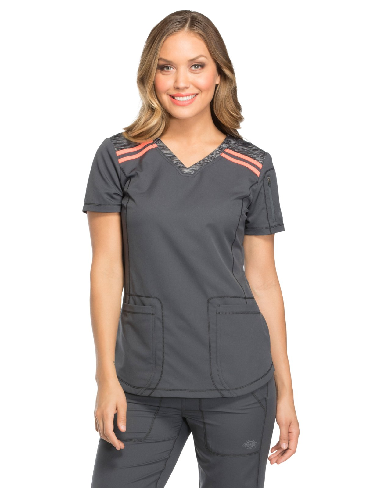 Dickies Dynamix by Women's V-Neck Solid Scrub Top Medium Pewter