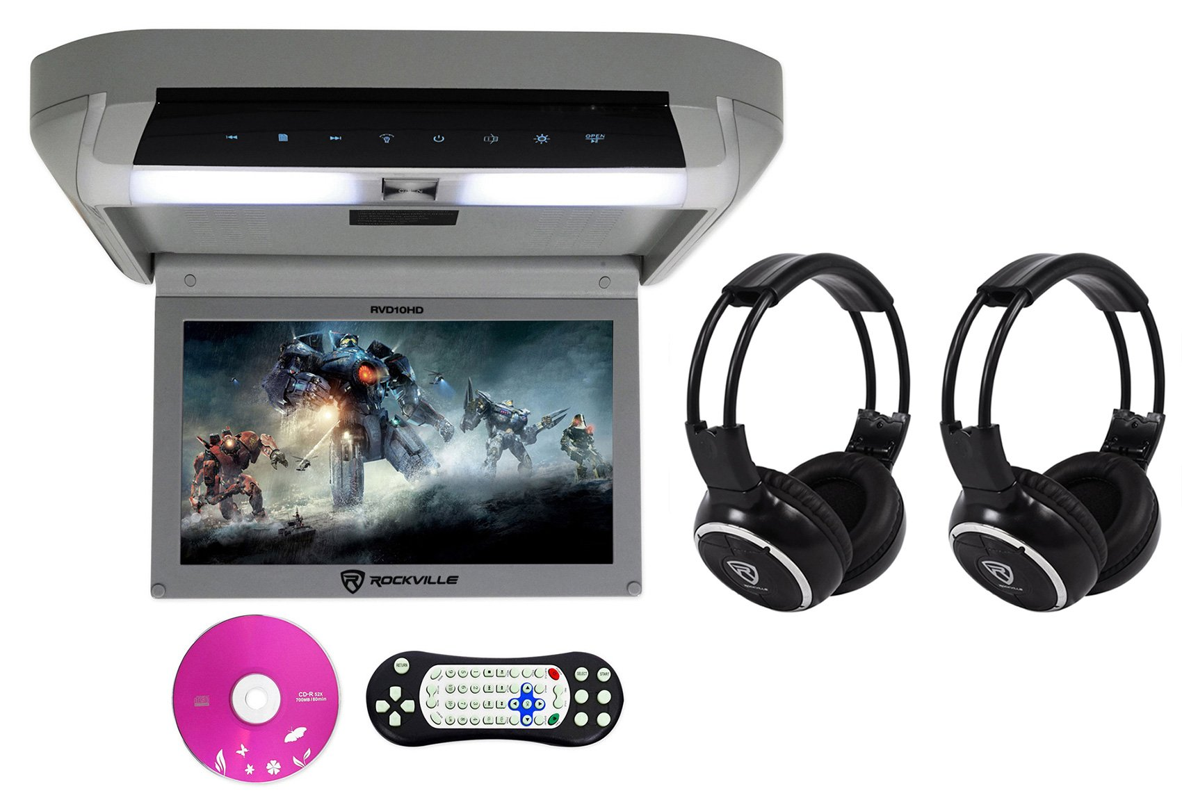Package: Rockville RVD10HD-GR 10.1'' Gray Flip Down Monitor With DVD Player, HDMI, USB/SD, Games, and LED Mood Light + (2) Rockville RFH3 Dual Channel Wireless Ir Headphones