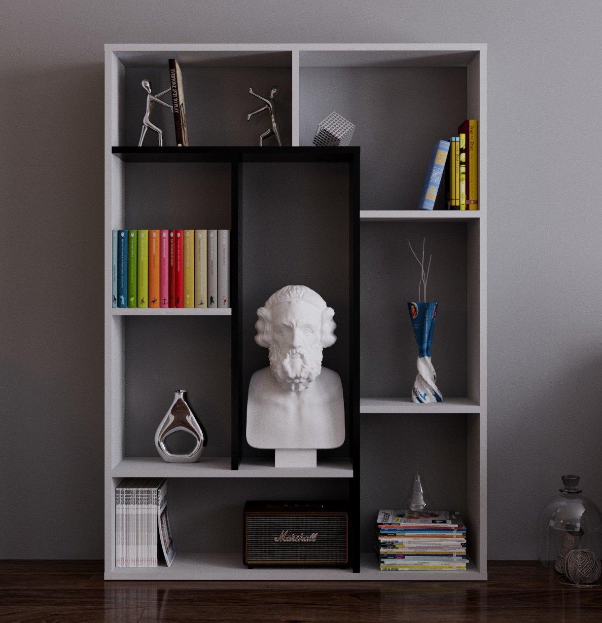 SPRING Bibliothèque - Étagère de Rangement - Étagère pour livres - Étagère pour bureau - salon par le design moderne (Blanc -