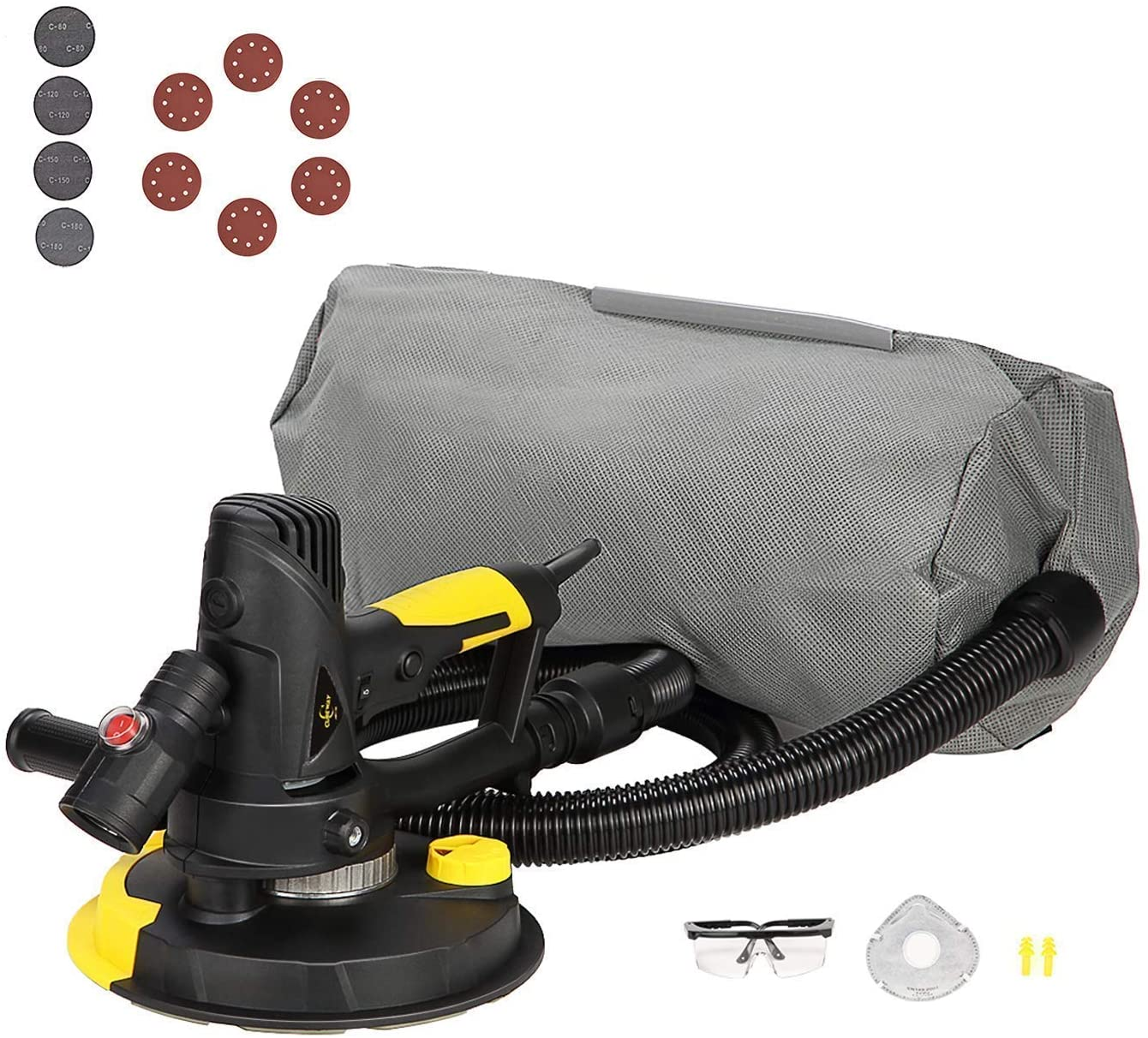Electric Drywall Sander with Vacuum, Variable Speed and 26FT Power Cord, Drywall Sanding Machine with Extra Mesh Sanding Discs and Safety Kit, CUBEWAY