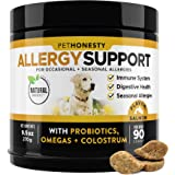 PetHonesty Allergy Support Supplement for Dogs - Omega 3 Salmon Fish Oil, Colostrum, Digestive Probiotics - for Seasonal Alle