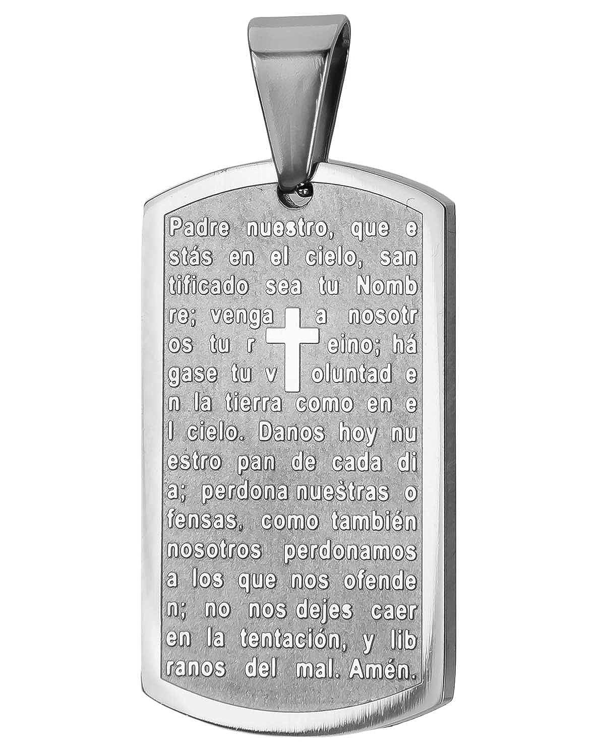 8c0ea414404bd CHRISTIAN/CATHOLIC STAINLESS STEEL DOG TAG, SPANISH PADRE NUESTRO ...