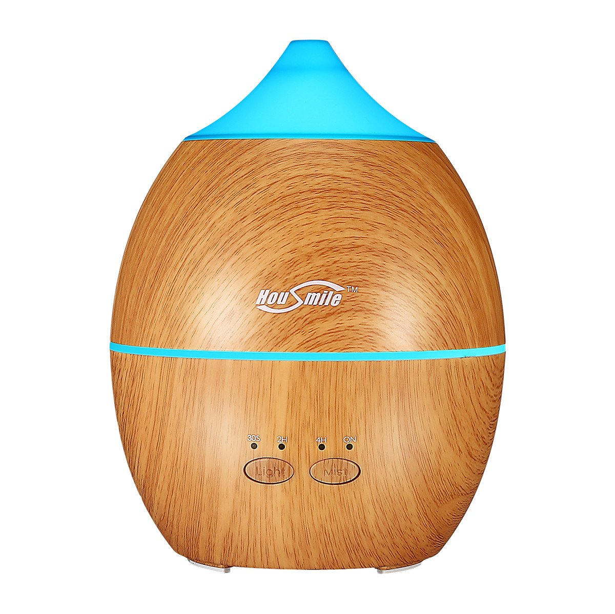 Housmile 300ml Cool Mist Ultrasonic Humidifier,Mini Aroma Essential Oil Diffuser with 7 Color LED lamps and Waterless Auto Shut-off, 4 Timer Settings(Black Brown)