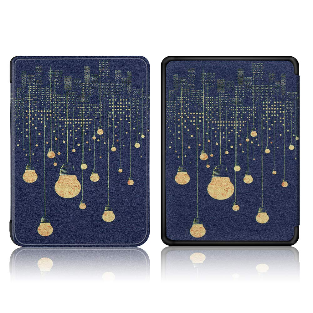 """Robustrion Ultra Slim Smart Flip Case Cover for All New 6"""" Amazon Kindle 10th Generation 2019 Cover - Bulbs"""