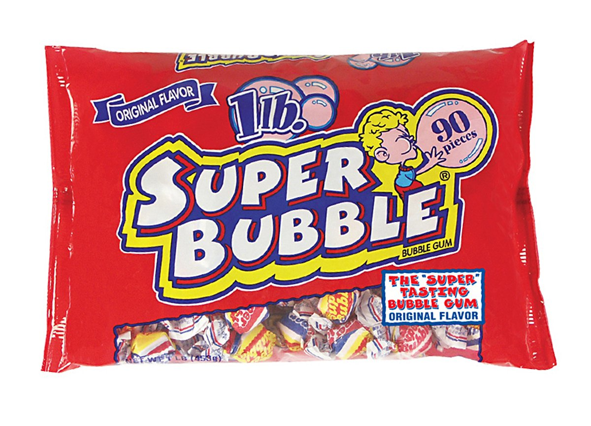 Super Bubble Bubble Gum, 1lb Bag of the Original Flavor