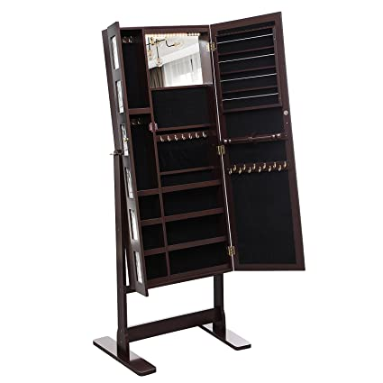Charmant SONGMICS 18 LEDs Jewelry Cabinet Armoire With Mirror, Large Jewelry  Organizer 6 Photo Frames Brown