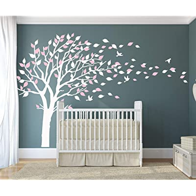 LUCKKYY Tree Blowing in The Wind Tree Wall Decals Wall Sticker Vinyl Art Kids Rooms Teen Girls Boys Wallpaper Murals Sticker Wall Stickers Nursery Decor Nursery Decals (White+Pink+): Home & Kitchen
