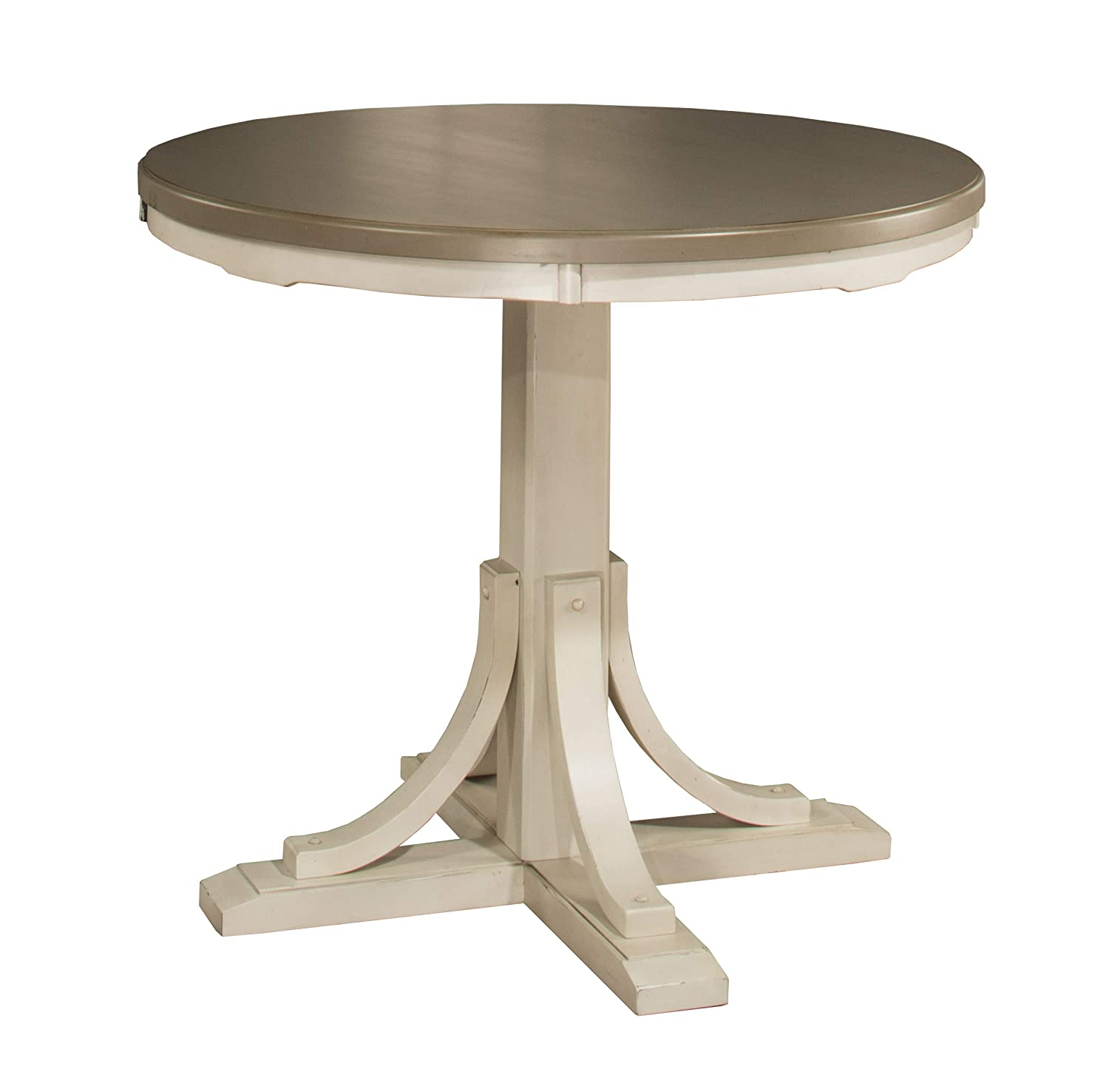 Hillsdale Furniture Counter Height Round Dining Table, Distressed Gray/Sea White