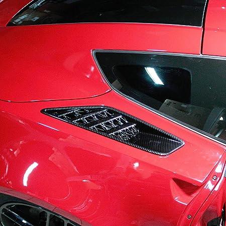 Justautotrim Carbon fiber look Cover trims Accessories Front Fender Side Body Vent for 2014 2015 2016 2017 2018 Chevrolet Corvette C7