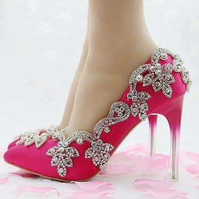 LEIT Women's Fine Bouche Peu Profonde Fait Chaussures de Soie épaisse avec Simulation de Rhinestone,34,Red Rose
