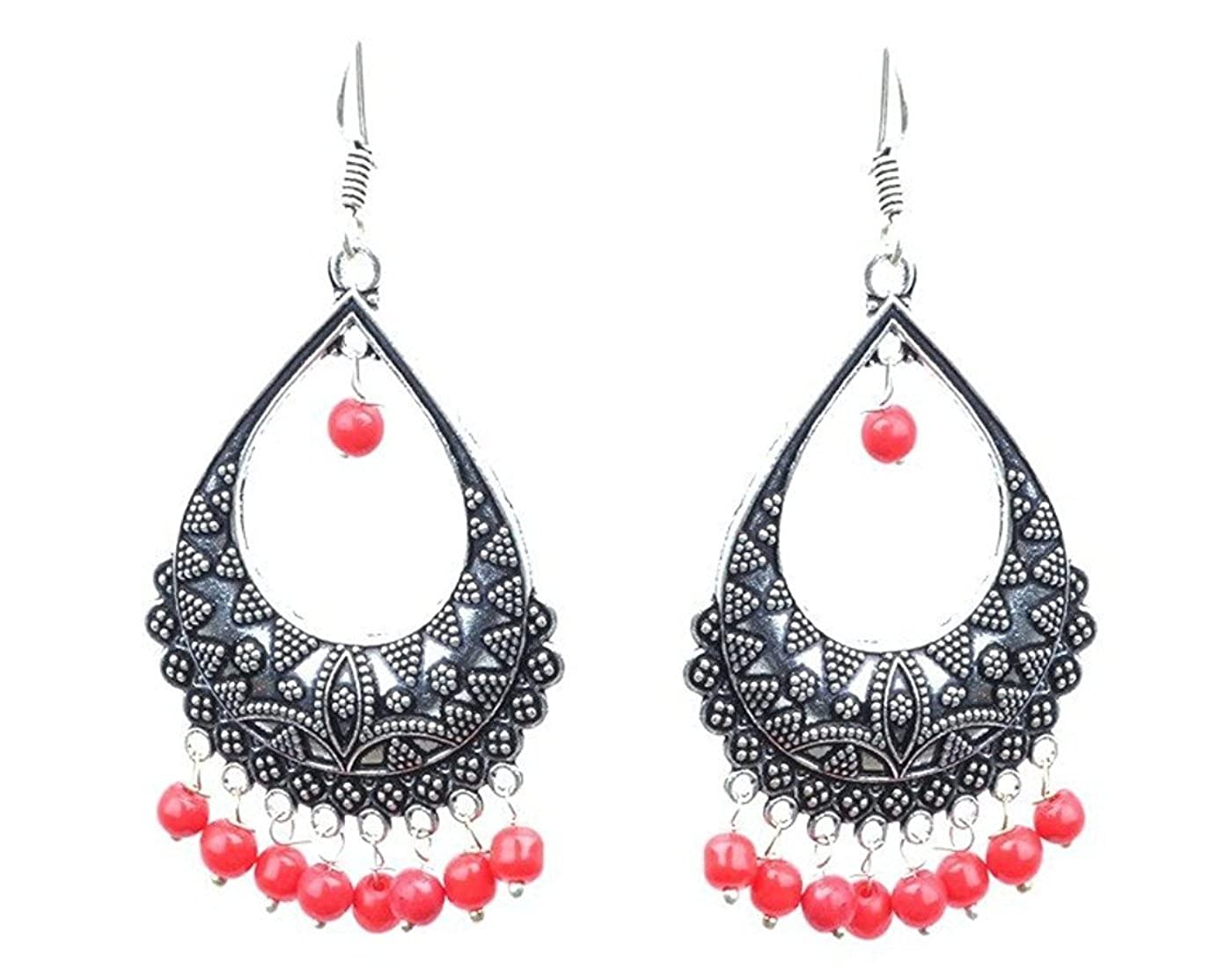 Subharpit Red Beads Oxidized Silver Indian Dangle /& Drop Earring for Women /& Girls