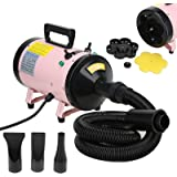 Voilamart 2800W 3.7HP High Velocity 2 Speed Adjustable Temperature Pet Dog Cat Fur Grooming Hair Dryer Hairdryer Blaster Pink w/ Heater and Flexible Hose
