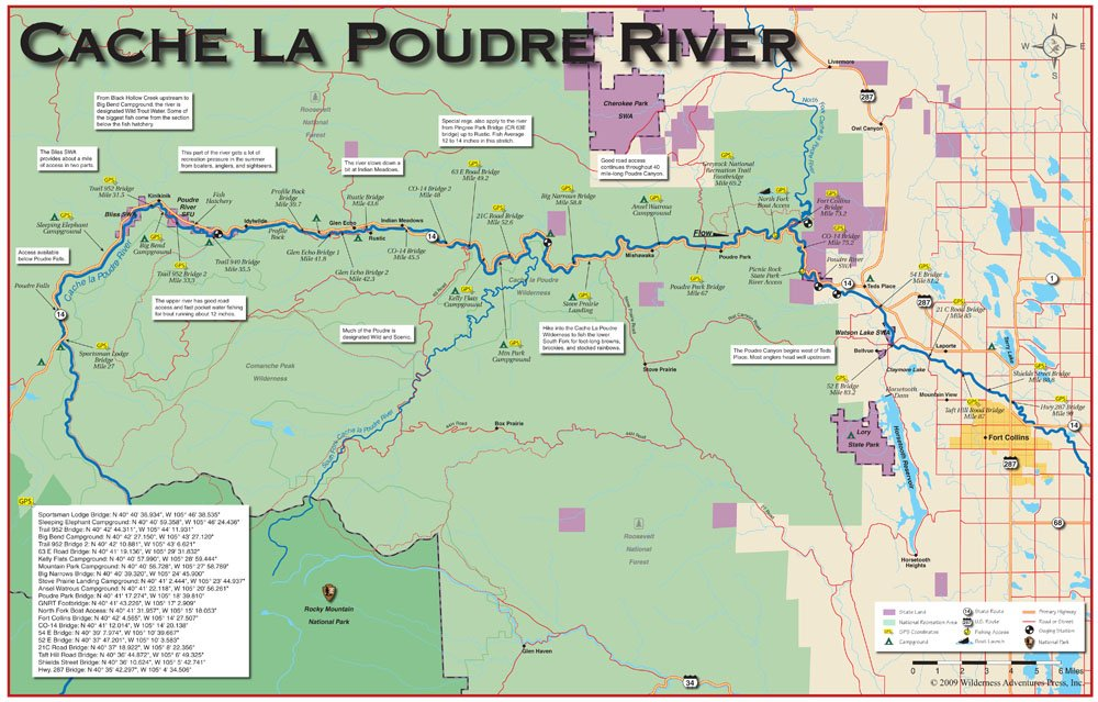 Amazoncom Cache la Poudre River 11x17 Fly Fishing Map Outdoor