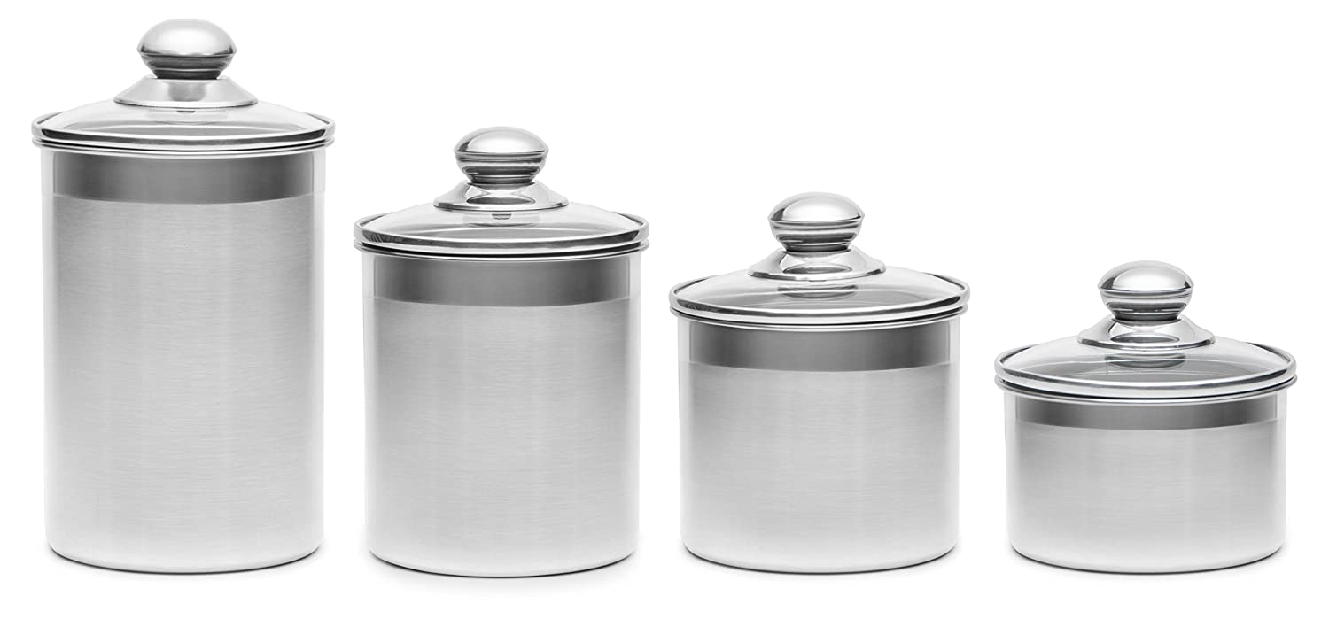 100 thl kitchen canisters stainless steel airtight thl kitchen canisters amazon com steel 4 piece stainless steel canister set with scoop