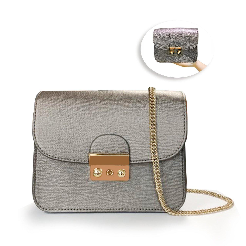 Leather Chain Shoulder Bag Fashion Mini Evening Bag Wedding Party Handbag Classic Clutch for Women Girls (Gray)