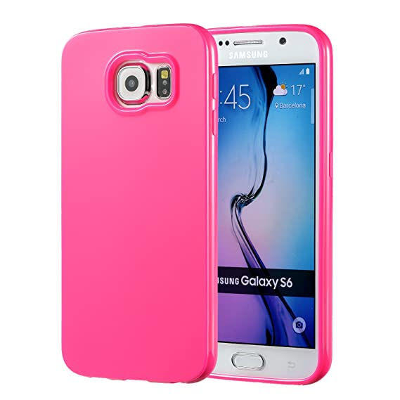 more photos 1eb70 2921c Galaxy S6 Pink Case, technext020 Galaxy S6 Case Silicone Protective Back  Cover Slim Fit Samsung Galaxy S6 Bumper