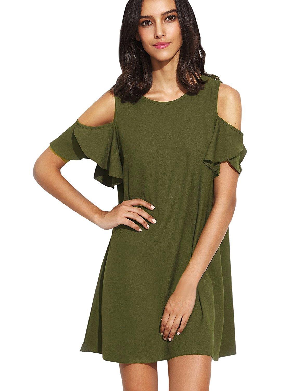 Milumia Women's Summer Cold Shoulder Ruffle Sleeves Shift Dress Army Green XXL