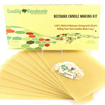 Make Your Own Beeswax Candle Kit - Includes 10 Full Size 100% Beeswax  Honeycomb Sheets in Natural and Approx  6 Yards (18 Feet) of Cotton Wick   Each
