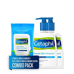 Cetaphil Gentle Skin Cleanser for All Skin Types, Two 16 Fl Oz Bottles, plus 10 CountCetaphil Gentle Skin Cleansing Cloths for Dry, Sensitive Skin (Combo Pack)