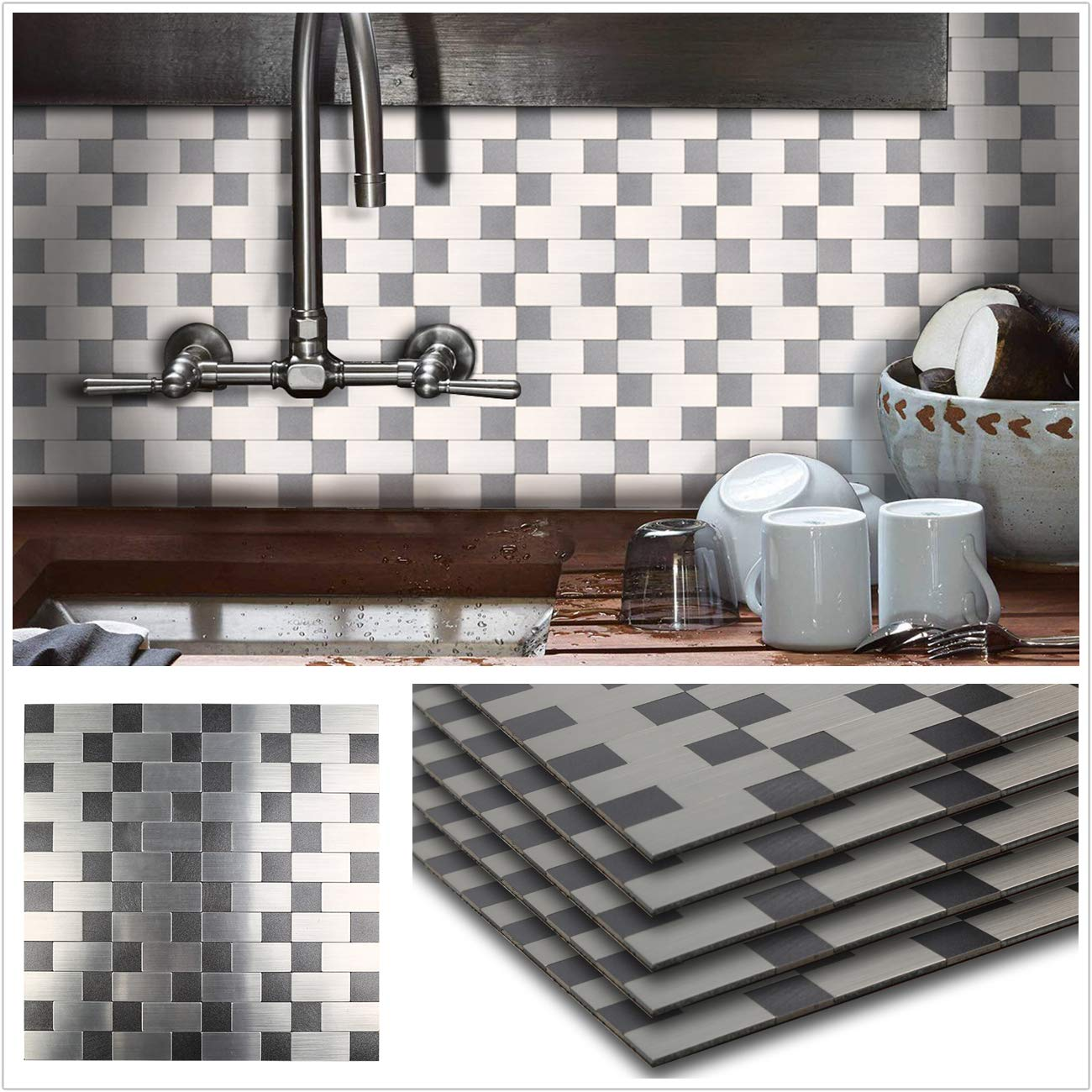 HomeyStyle Peel and Stick Tile Backsplash for Kitchen Wall Decor Meal Mosaic Tiles Sticker,Subway Black/&Silver Puzzle 12x12 x 5 Tiles