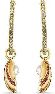 Swarovski Pendientes de Aro Shell Pearl, Rojo, Baño en Oro, Amazon Exclusivos