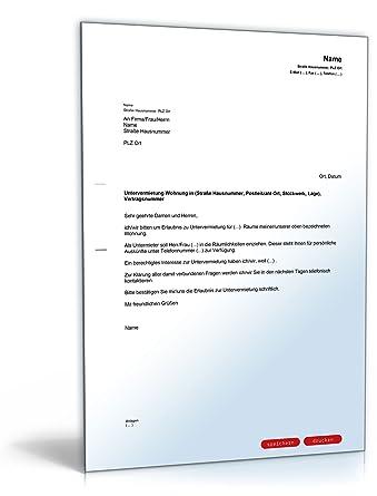 Formloser Antrag Untervermietung Pdf Download Amazonde Software