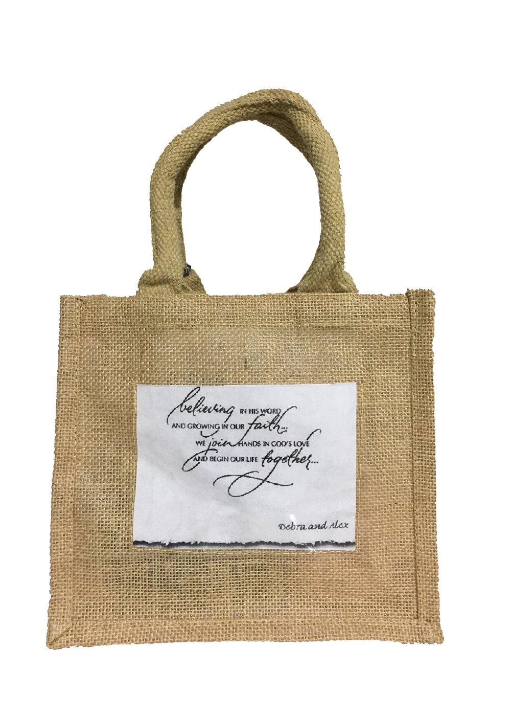 Wedding Favor Jute Bag Hessian Mini Gift Tote for Bride, Bridesmaids, Decoration (50)