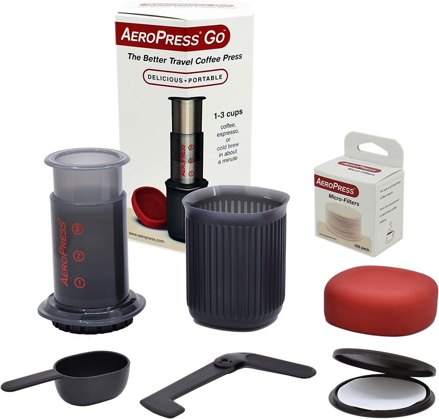 AeroPress 10R11 Go Travel Coffee Maker, Grey