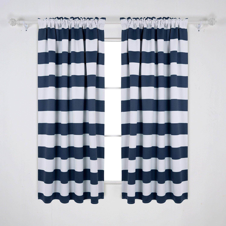 Deconovo Navy Blue Striped Blackout Curtains Rod Pocket