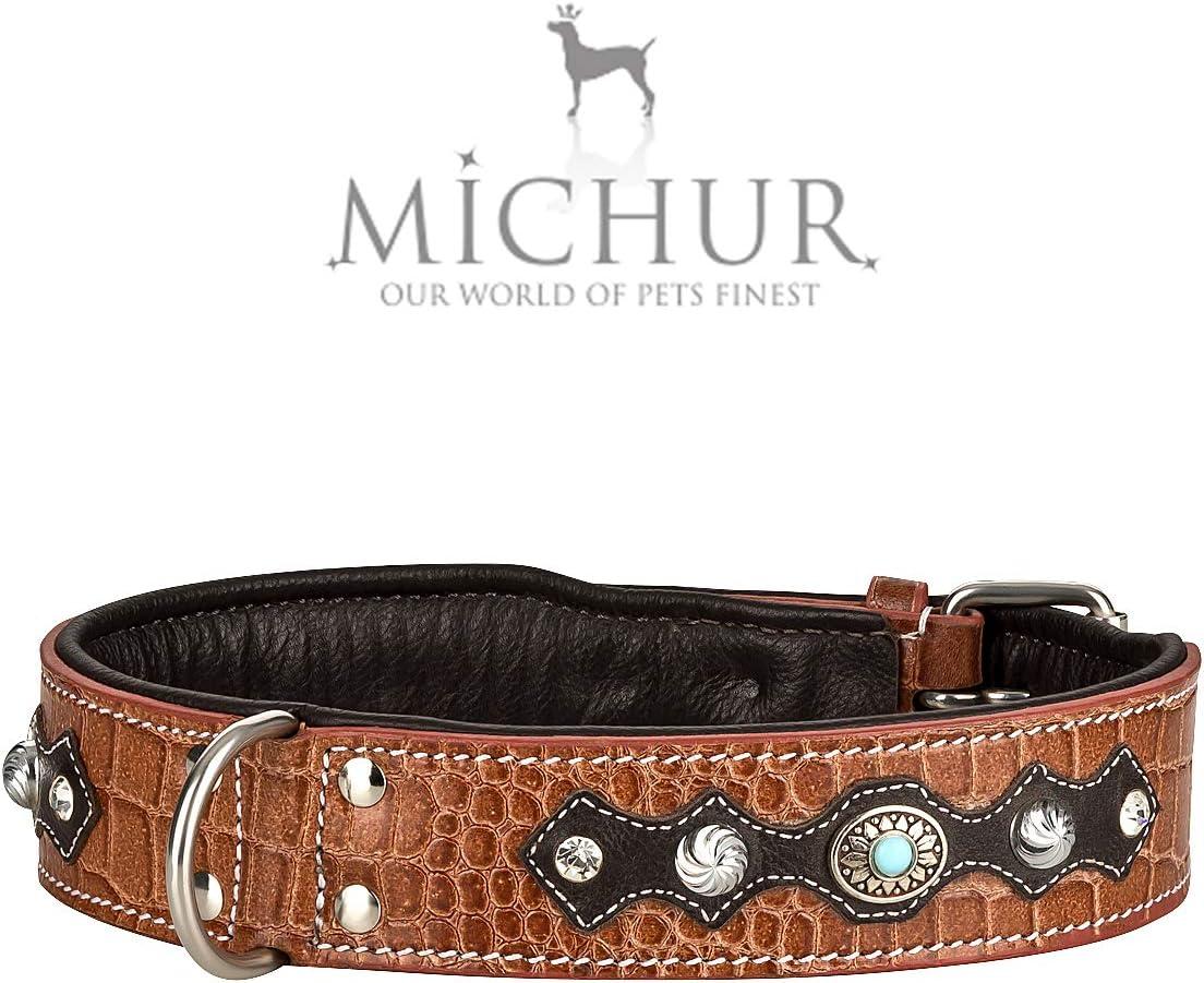 MICHUR Lakota Collar de Perro en Cuero, Collar para Perros, MARRÓN, Cuero, Piedras Azules con RIVOS Redondos, Disponible en Varios tamaños, Collar Cuero
