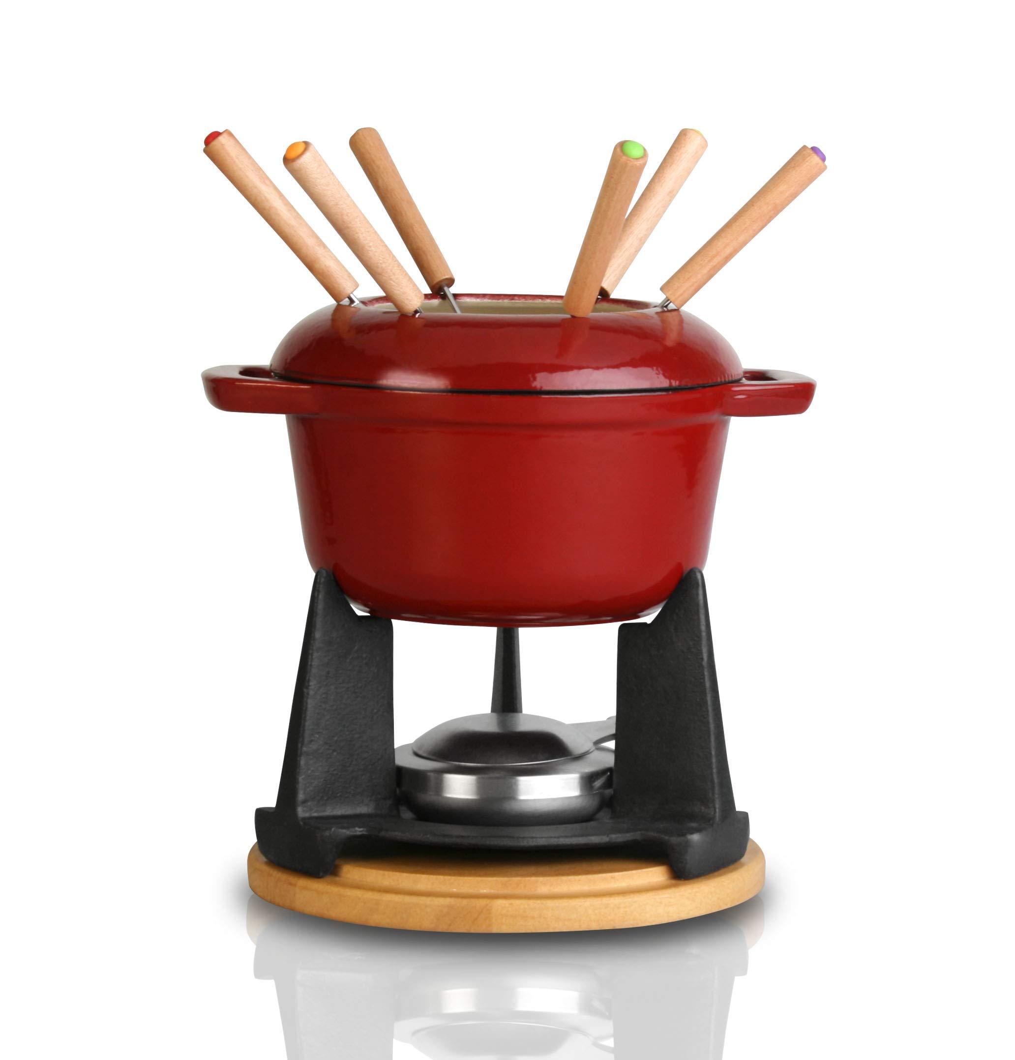 Artestia Cast Iron Fondue Set, 11-Piece, Serve 6 Persons (Red) by Artestia