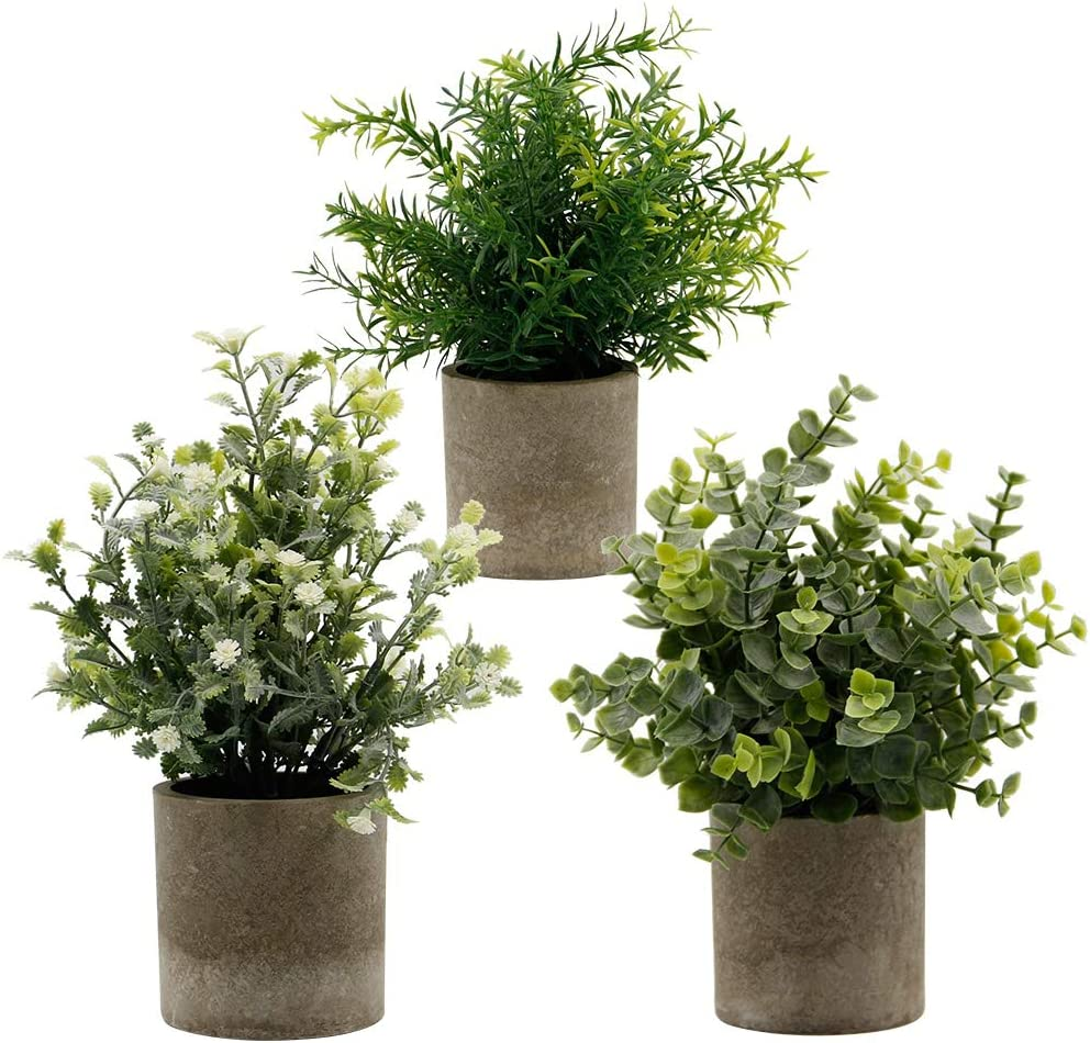 """Zcaukya Small Potted Artificial Plants, Artificial Eucalyptus Plants Fake Rosemary White Baby's Breathe 9.5"""" Plastic Greenery Plants for Home Office Garden Decor, Indoor & Outdoor, Set of 3 (White)"""